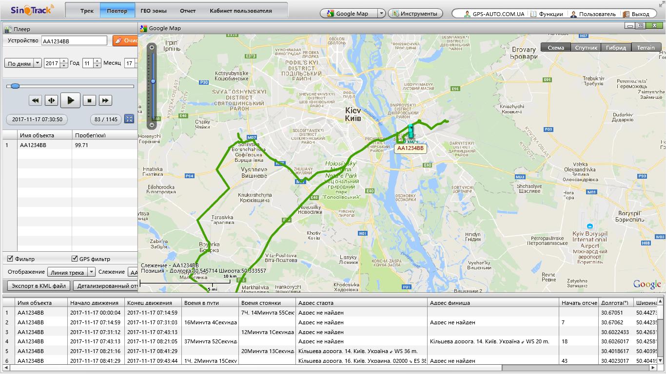 SinoTrack платформа GPS мониторинга автотранспорта